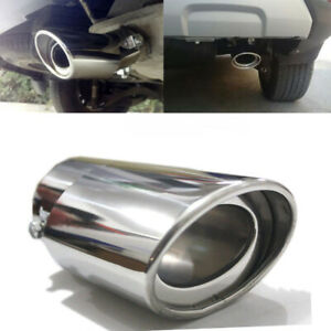 Car Stainless Steel Exhaust Trim Tip Muffler Pipe Chrome Silver Tail Throat Pipe