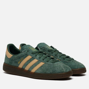 adidas Originals Munchen Shoes in Forest Green and Beige Men's Suede Trainers