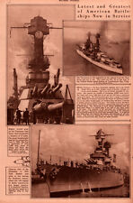 1920 ROTOGRAVURE AMERICAN BATTLESHIPS TENNESSE EAST RIVER GUNS NEW YORK HARBOR