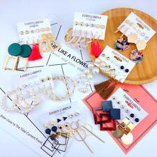Fashion Women's Earrings Set Tassel Geometric Pearl for Women Bohemian Jewelry