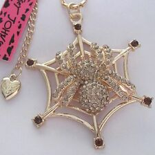 Betsey Johnson shiny Yellow crystal Spider&spider web pendant Necklace,286L,Y