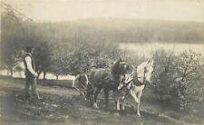 Farm agriculture 1909 Haverhill Washington Horse Drawn Plow postcard 10498