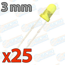 25x LED 3mm AMARILLO DIFUSO 20mA diodo diode diffuse yellow