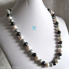 """Freshwater Pearl Necklace Jewelry 24"""" 10-12mm White Gray Peacock"""