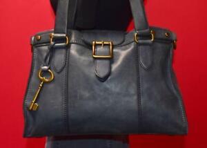 FOSSIL Vintage Revival Dark Blue Leather Buckle Satchel Tote Shoulder Purse Bag