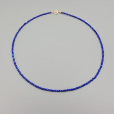 LiiJi Natural Lapis Lazuli 2mm 925 sterling silver Gold Color Choker Necklace