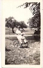 Boy Kid & His Passenger Dog On A Tricycle Old Car Grill Vintage 1930s Photo