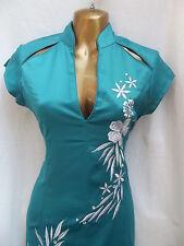 Dernier Design Oriental Chinois Turquoise Argent Robe De Soirée Taille 24