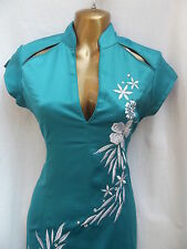 Vestido De Fiesta último Diseño Oriental Chino Turquesa Plata Talla 16