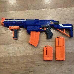 Nerf N-Strike Elite RETALIATOR Blue Blaster Dart Gun With Extra Clips No Darts