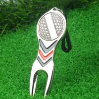 Golf Green Divot Repair Tool Ball Marker Putting Fork Pitch Groove Cleaner