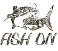 Camo fishing catfish sticker decal lure crankbait cat fish bait hooks tackle new