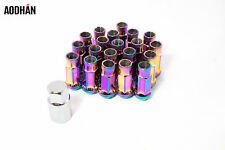 "20"" 12X1.5 Aodhan XT51 Lug Nuts Neo Chrome Open End Fit Mitsubishi Evo 8 9 X Rsx"