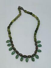 "Chrysoprase Gemstone Beaded Necklace with Dogwood Flower Clasp 21"""