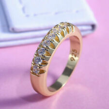 Elegant 18k Yellow Gold Plated Rings for Women Jewelry White Sapphire Size 7