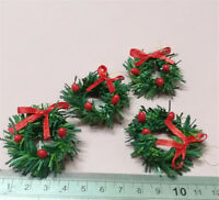 1:12 DollHouse Christmas Garland Decoration With Red Bow DIY Home Decor Gift S*