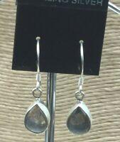 Vintage Sterling Earrings 925 Silver Labradorite Gemstone Pear Shape Pierced