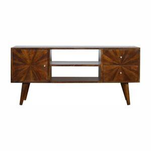 Media Unit Dark Mango Wood Sunburst Pattern Brass Storage Drawers Mid-Century