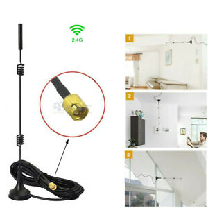 SMA 2.4GHz 7 dBi Wireless Wifi WLAN 5 X Range Booster Antenna Extender + Base
