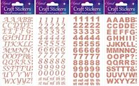 Rose Gold Self Adhesive Glitter Alphabet Or Number Stickers Sheet For Craft