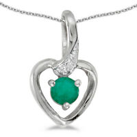 """10k White Gold Round Emerald And Diamond Heart Pendant with 16"""" Chain"""