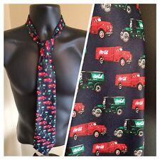 """Coca Cola christmas Tie Vintage Delivery Trucks neck tie navy w/ red green 58"""""""