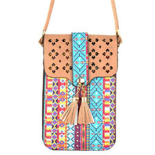 Colorful Aztec Print Crossbody Touchscreen Cell Phone Purse- Taupe- New