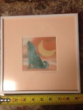 Coyote/Moon Designs Fabric Collage Framed NEW Signef By Artist