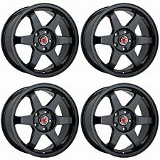 4x Wolfrace JDM Satin Black Alloy Wheels - 4x100 / 4x108 | 17x7.5"