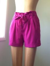 Dotti Bright Pink Soft Shorts Size 8 High Waisted Belt Pleated Details Sale On !