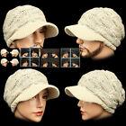 Visor Beanie LUX BEIGE Rasta Skull Knit Cap Hat Ear warmer Dreadlock EarFlap