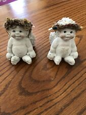 "A Set Of ""2� Dreamsicle Vintage Cherub Angel Figurines Kristin Cast Art"