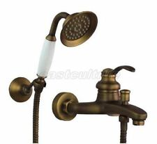 Antique Brass Wall Mounted Bath Tub Faucet Mixer Tap With Handheld Shower etf034
