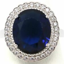 Large 8 Ct Oval Blue Sapphire Ring Women Wedding Engagement Anniversary Jewelry