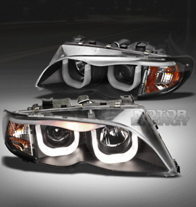 02-05 BMW E46 3-SERIES SEDAN 4DR 3D DRL LED PROJECTOR HEADLIGHTS BLACK 325I 330I