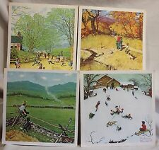 Norman Rockwell Childhood Treasure Print Set Series Lot 4 1970's School Winter