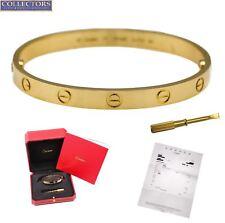 Ladies MINT Cartier LOVE New Screw Size 17 18K 750 Yellow Gold Bangle Bracelet