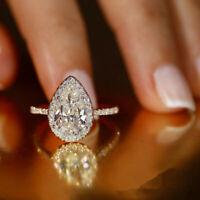 Elegant Engagement 925 Silver Pear Cut Cubic Zirconia Wedding Ring Sz 6-10 gift