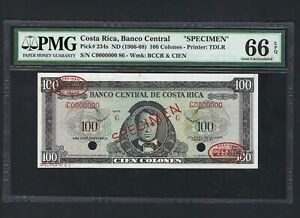 Costa Rica 100 Colones ND(1966-68) P234s Specimen TDLR  Uncirculated Graded 66