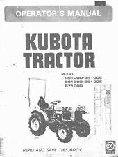 KUBOTA TRACTOR B5100D & E B6100D & E B7100D OPERATORS MANUAL REPRINT COMB BOUND