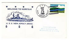 US Naval Cachet Ship Cancel Cover USS New Jersey BB-62 Battleship Norfolk 1968