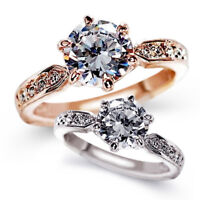 Ladies Zircon Engagement Rings Rose gold color Wedding rings Crystals Jewelry