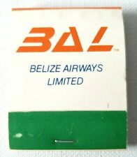 Vintage BAL BELIZE AIRWAYS LIMITED Matches Matchbook Commercial Aviation