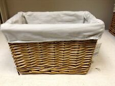 Woven Wicker storage Toy Laundry Stained Willow Basket Natural Liner 11X7.5X7
