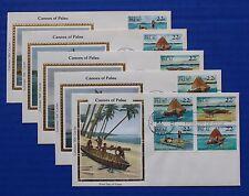 "Palau (67-70) 1985 Canoes & Rafts Colorano ""Silk"" FDCs"