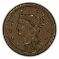 1856 1c Braided Hair Large Cent - XF Coin - SKU-Y2867