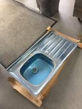 stainless steel single bowl and drainer sit on kitchen sink with 2 tap holes