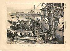 Cérémonie Funèbre à Bord du Bayard Port-Saïd Egypte Amiral Courbet GRAVURE 1885