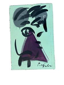 Peter Robert Keil German Painting Masonite 24@16 Abstract Purple Triangle