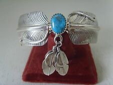 Turquoise Bracelet with Two Feathers .925 Sterling By Running Bear  RB